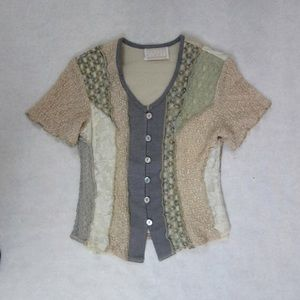 Hippie Boho Lacey Patchwork Short Sleeve Blouse